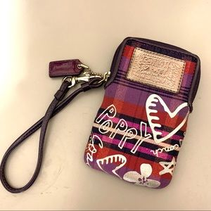 Coach Poppy Wristlet - Purple/Red With Hearts